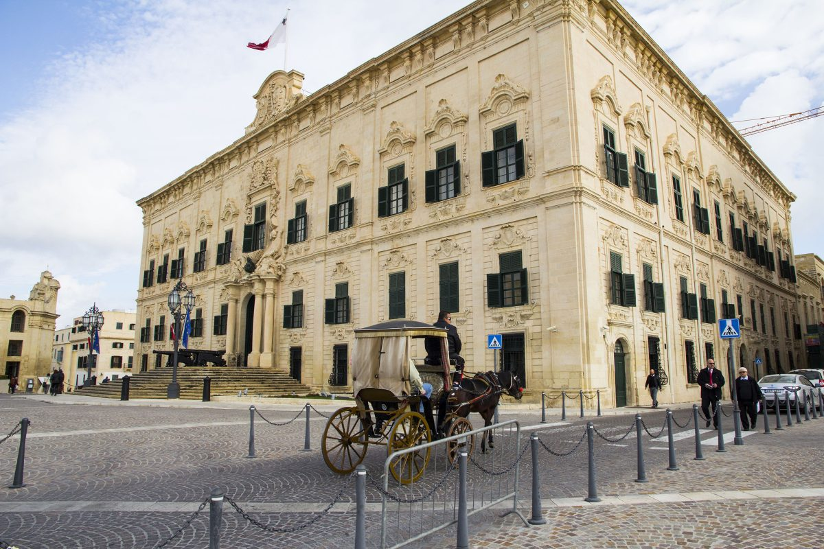 The Auberge de Castille in Valletta, Malta, originated in the 1570s to house the knights of the Order of St. John. The current Baroque-style building, dating to the 1740s, is now the office of the prime minister of Malta.