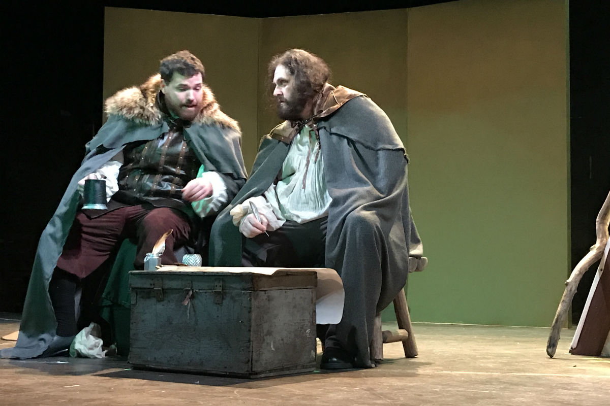 """(Left to right:) Kevin Rodden as Hugh O'Donnell and Ethan Lipkin as Hugh O'Neill in the Irish Heritage production of Brian Friel's """"Making History"""" at Plays & Players Theatre."""