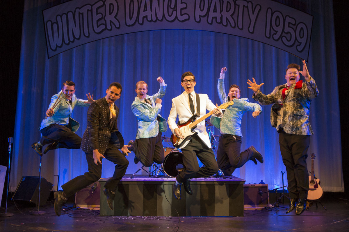 "(Left to right:) Zach Cossman, Gilbert D. Sanchez, James David Larson, John Dewey, Maximilian Sangerman, and Karack Osborn in the Bucks County Playhouse production of ""Buddy: The Buddy Holly Story."""