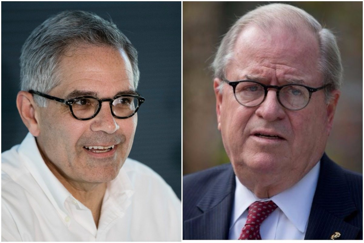 Larry Krasner (left), the Democratic nominee for district attorney in Philadelphia, had lunch this week with former Pennsylvania Supreme Court Chief Justice Ron Castille (right), the last Republican to serve as DA in the city.