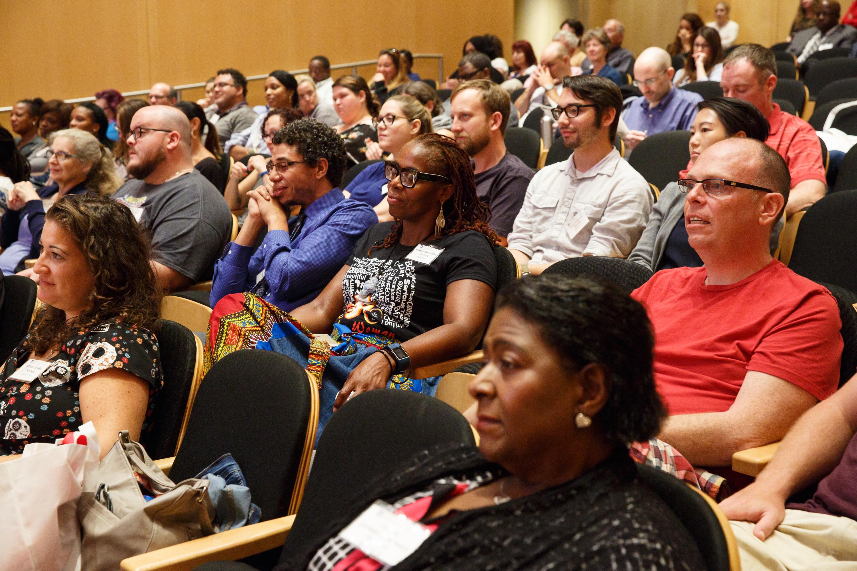 Teachers at the Octavius V. Catto event Thursday listen to H. Richard Milner IV deliver a keynote address.