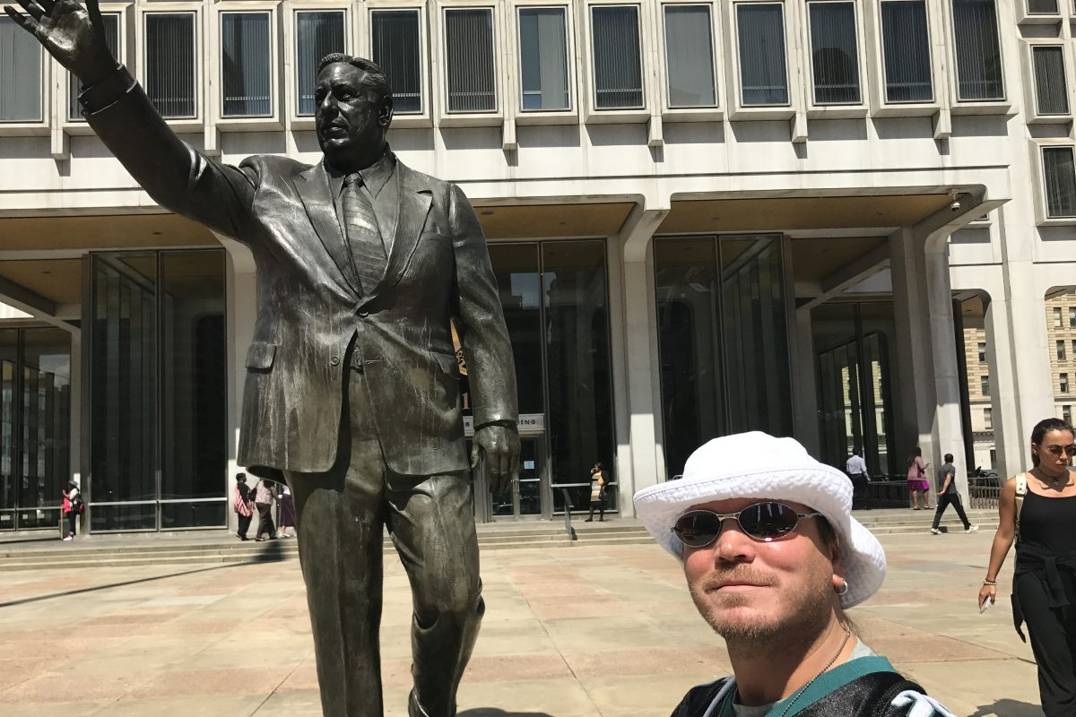 The Rizzo statue across from City Hall.