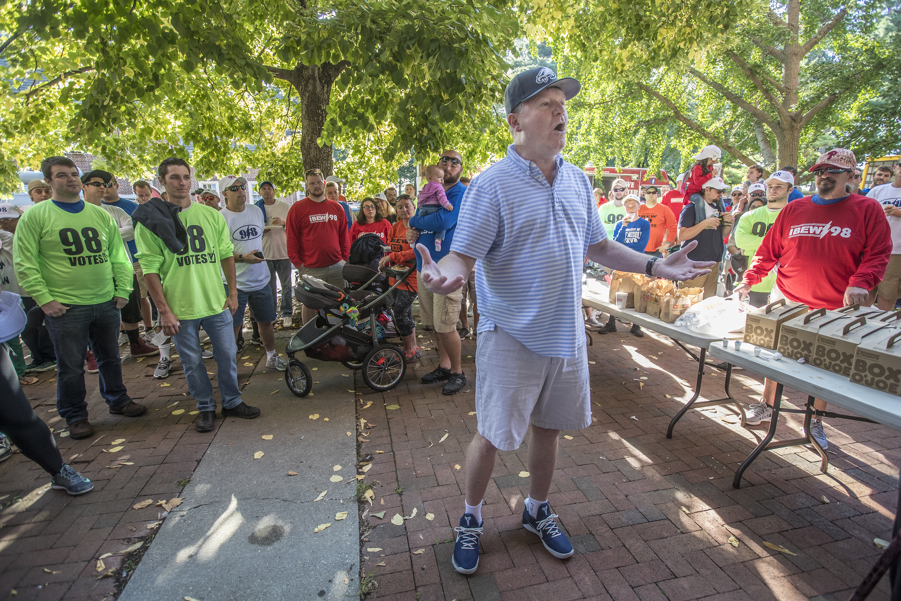 IBEW Local 98 union leader John Dougherty speaks to union members gathered to march in the Labor Day Parade about donations for Hurricane Harvey victims and the importance of unions. MICHAEL BRYANT / Staff Photographer