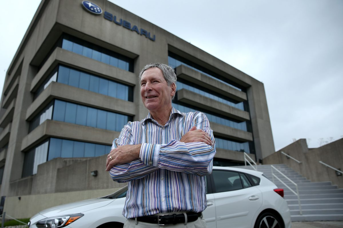 Thomas Doll, president and chief operating officer for Subaru of America, Inc., stands in front of Subaru's headquarters in Cherry Hill.  DAVID MAIALETTI / Staff Photographer