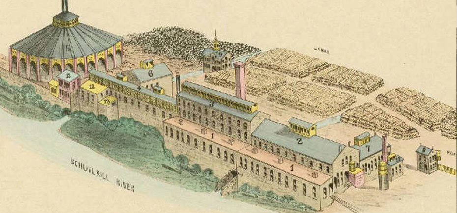 A drawing of what the PaperWorks mill in Manayunk looked like in the past. In the 1860s, it claimed it was the largest paper-making plant in the world.