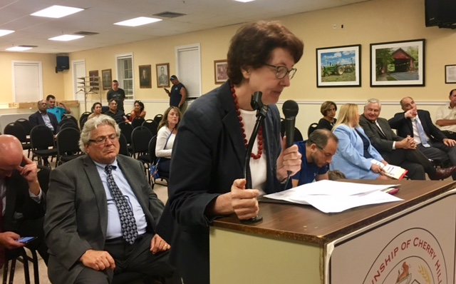 Cherry Hill resident Rena Margulis implores the township planning board to reject a Costco store proposed for the Garden State Park complex on Route 70. A five-hour public hearing ended with a yes vote around 1 a.m. on Sept. 6, 2017.