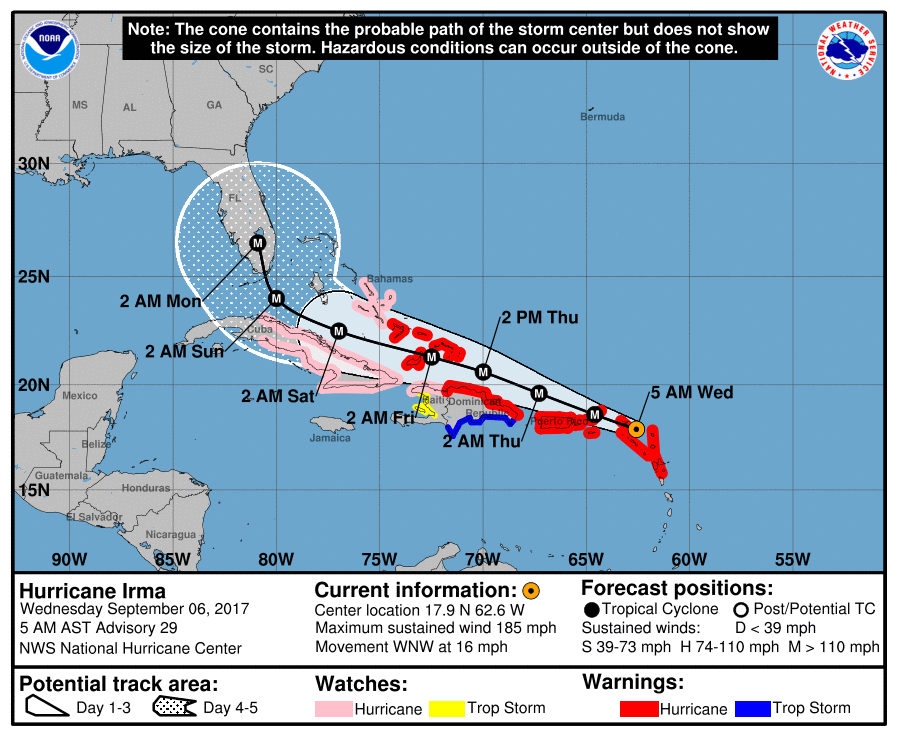 Projected path of Irma at 7 a.m. EDT Wednesday
