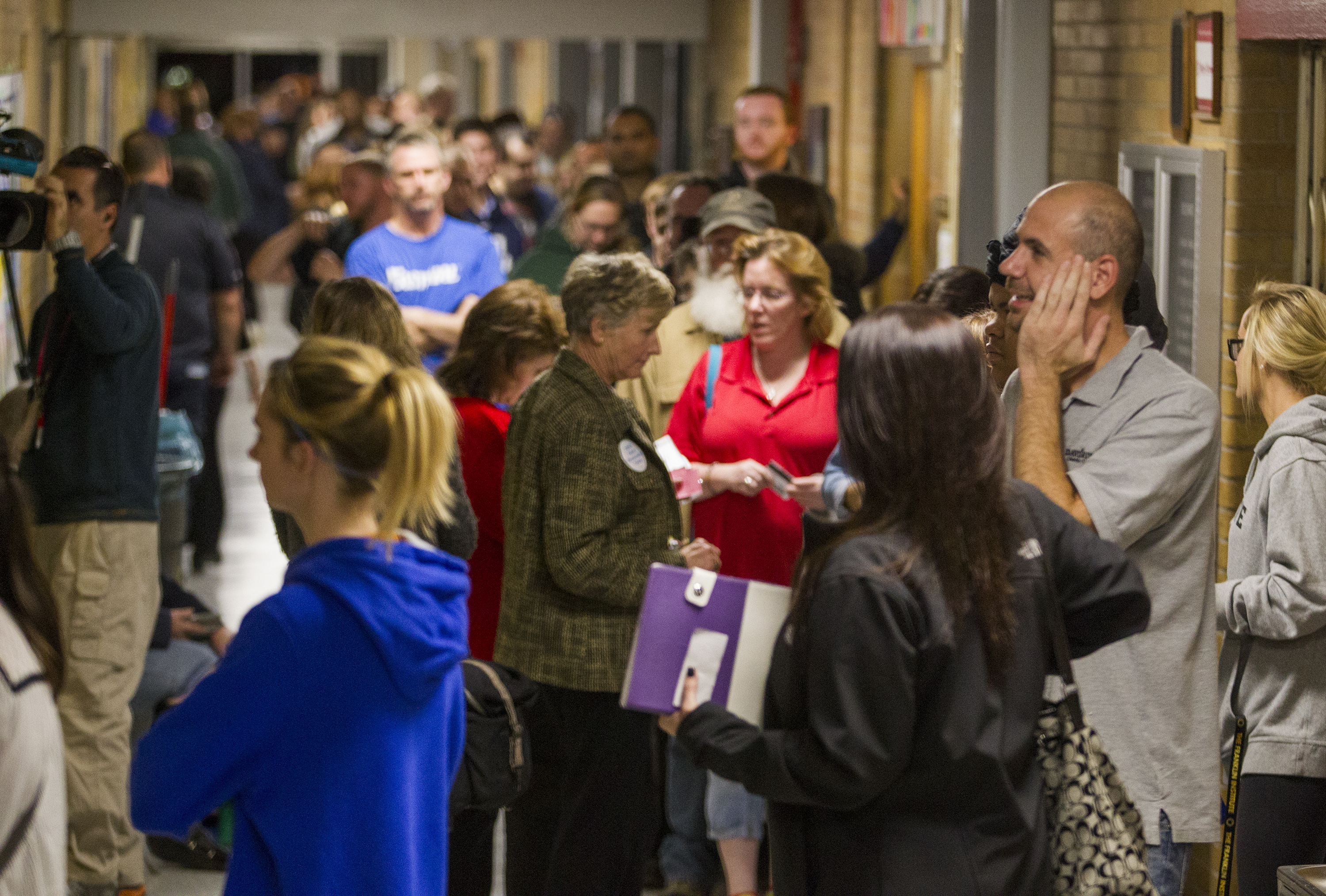 People line up to vote in Middletown Township, Bucks County at Herbert Hoover Elementary School on Nov. 8, 2016.