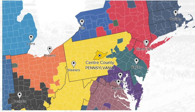 Twitter´s fandom map shows most of Pennsylvania is solidly black and gold for the Steelers