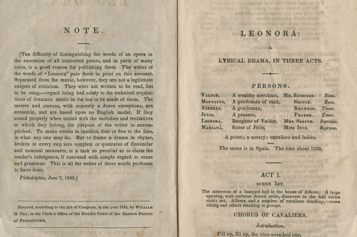 """Libretto for """"Leonora: A Lyrical Drama in Three Acts"""" (1845) by William Henry Fry."""