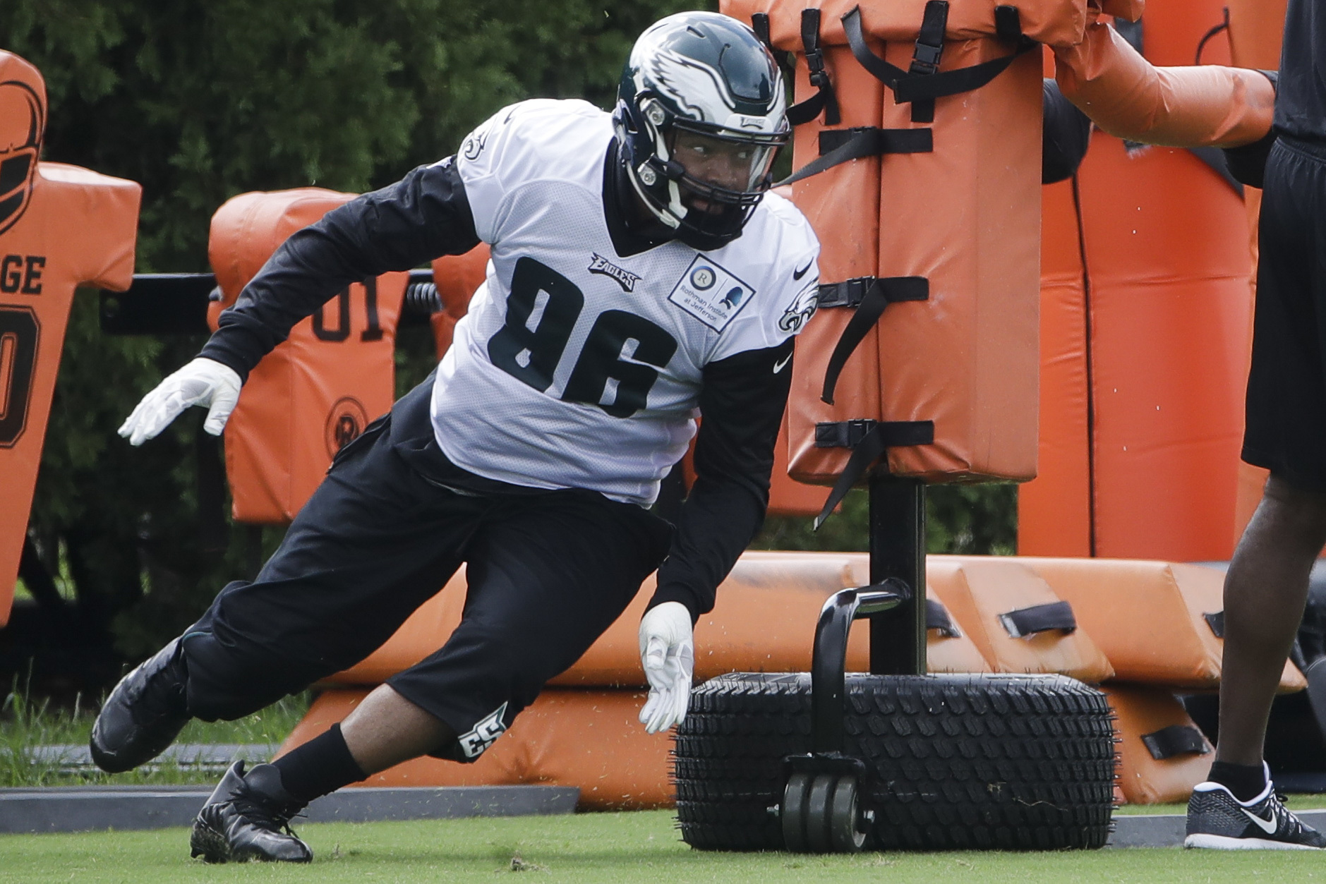 Philadelphia Eagles defensive end Derek Barnett runs a drill during an NFL football training camp on July 24.