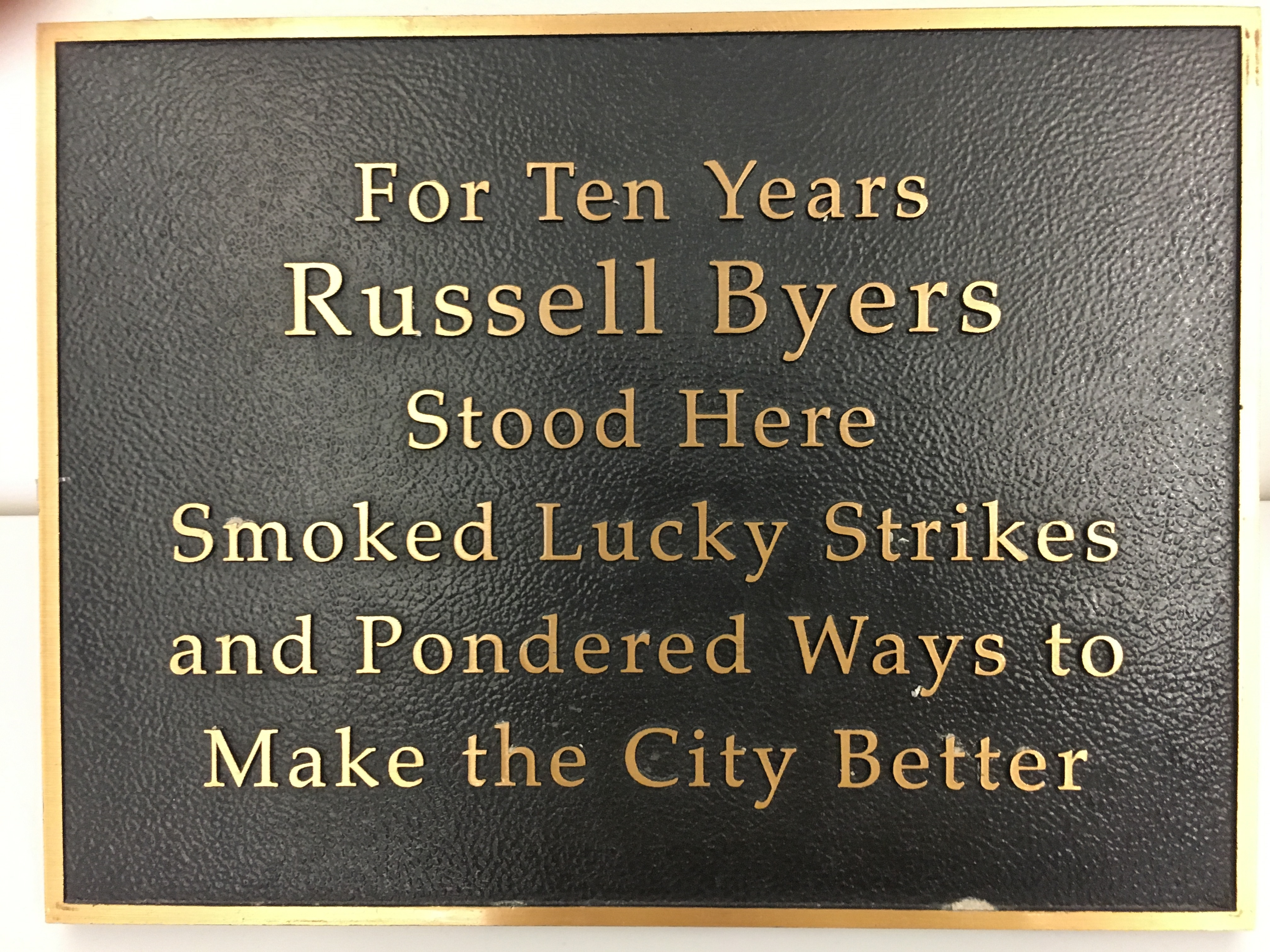 Russell Byers plaque
