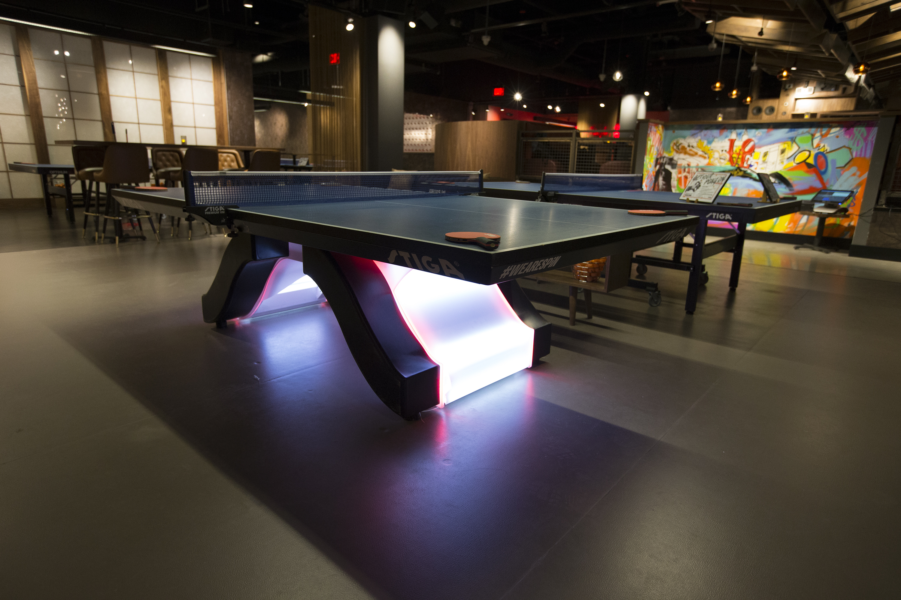 Old school Ping-Pong meets new school facilities in Center City in the form of SPiN, a place to drink, socialize, and play games. Some the tables on Sept. 5, 2017. CHARLES FOX / Staff Photographer