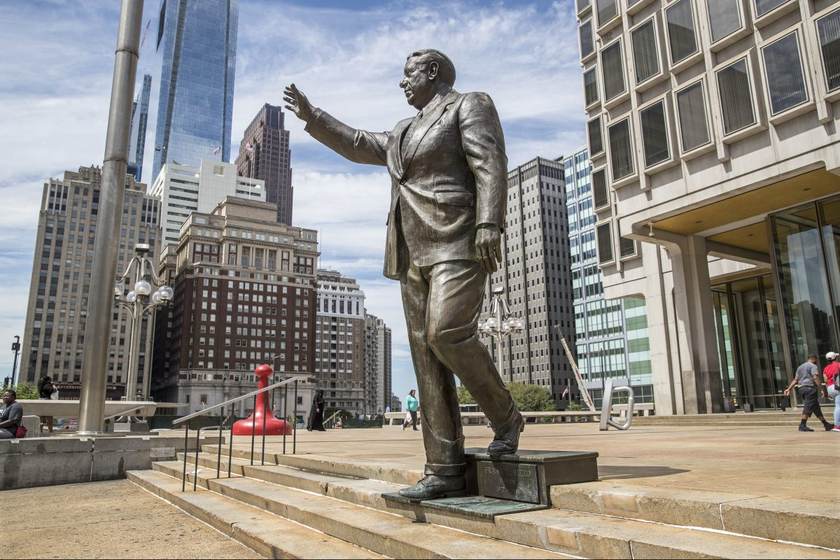 The statue of former Mayor Frank Rizzo. The city is accepting suggestions for what to do with the controversial monument.
