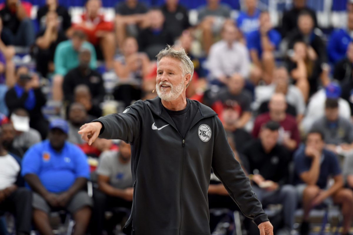 Sixers coach Brett Brown conducts a coaches clinic at the Sixers facility in Camden September 12, 2017. TOM GRALISH / Staff Photographer
