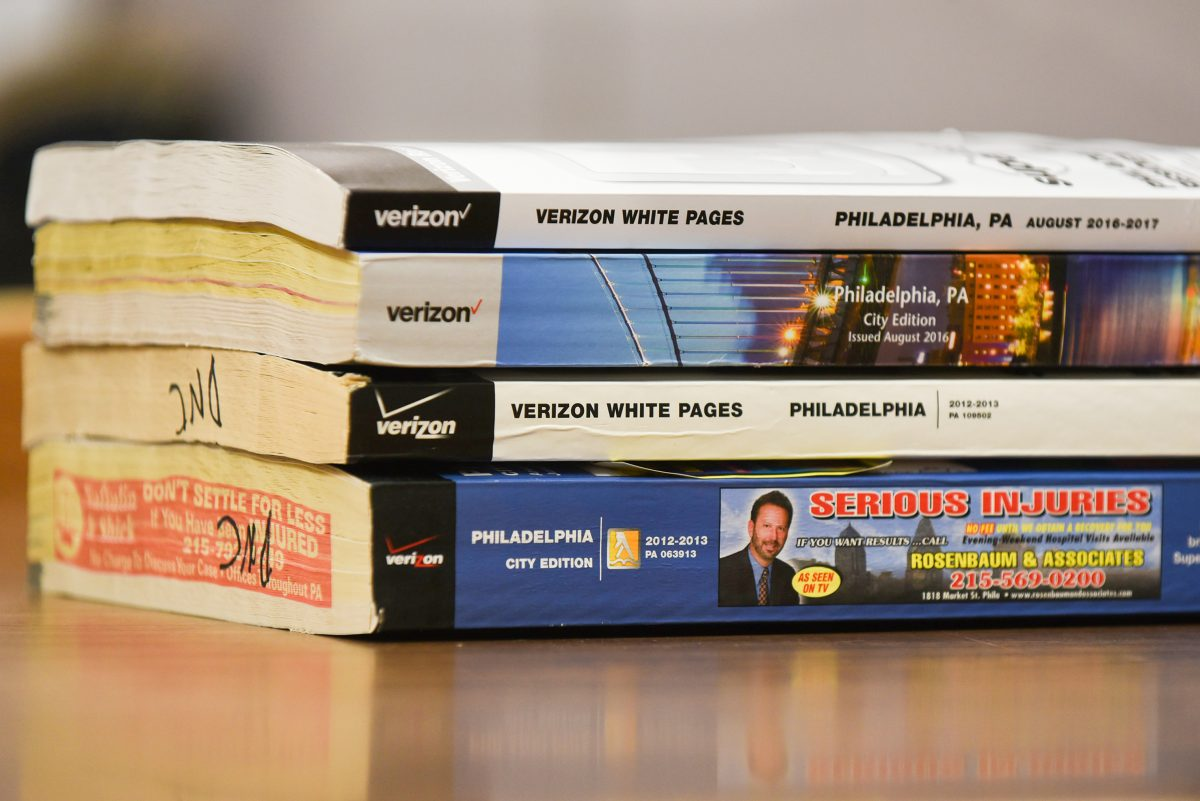 Archived Verizon phone books at the Central Branch of the Free Library of Philadelphia.