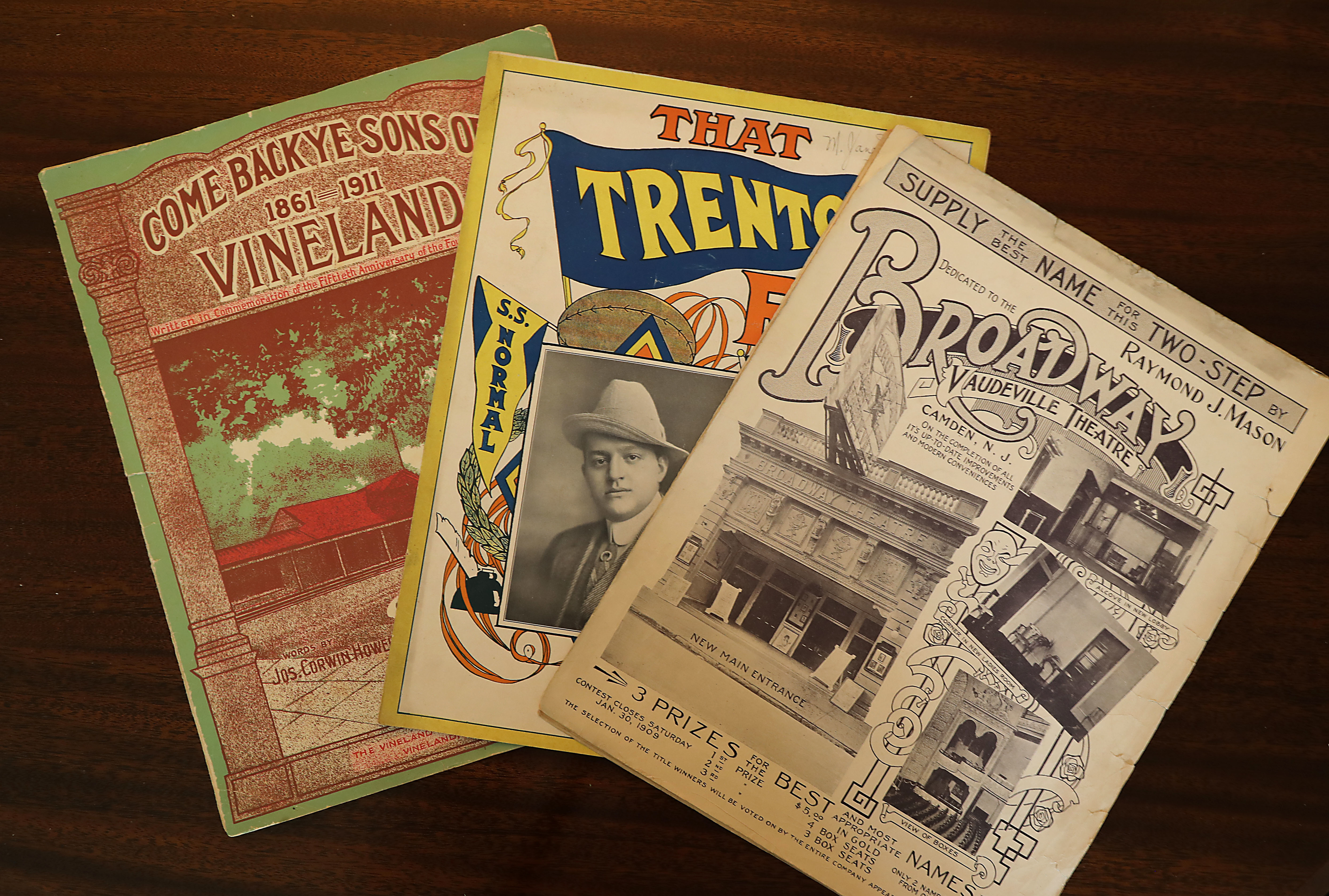 Sandy Marrone has collected a large number of sheet music for songs about New Jersey and Pennsylvania, among other places. Pictured are selections related to Vineland, Trenton and Camden.