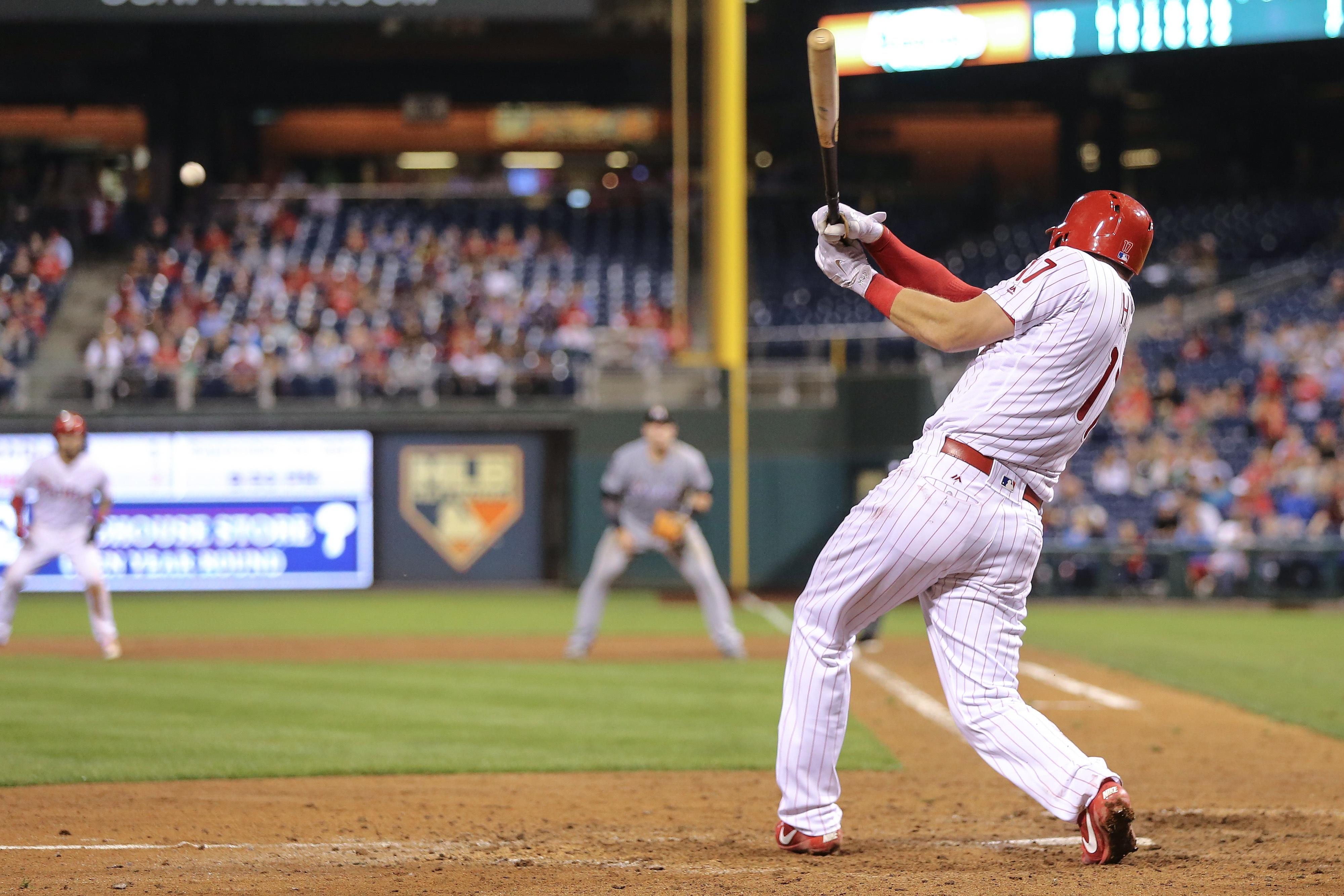 Phillies rookie slugger Rhys Hoskins has seven home runs in nine games against the Marlins this season.(Steven M. Falk/Philadelphia Inquirer/TNS)