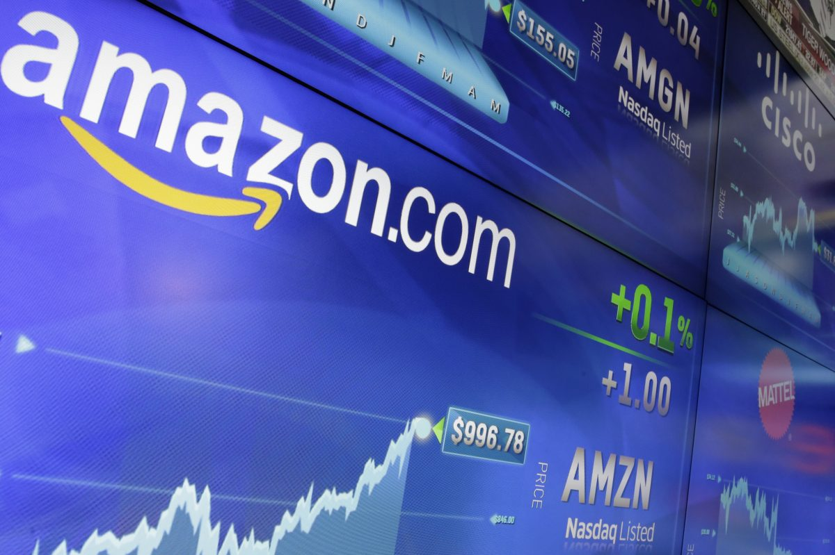 The Amazon logo is displayed at the Nasdaq MarketSite, in New York´s Times Square, Tuesday, May 30, 2017. Online retail giant Amazon.com traded above $1,000 a share for the first time.