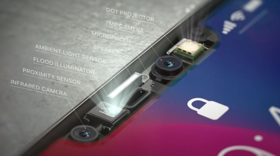 A serious array of on board sensors, cameras and lights make FaceID work on the new iPhone X.