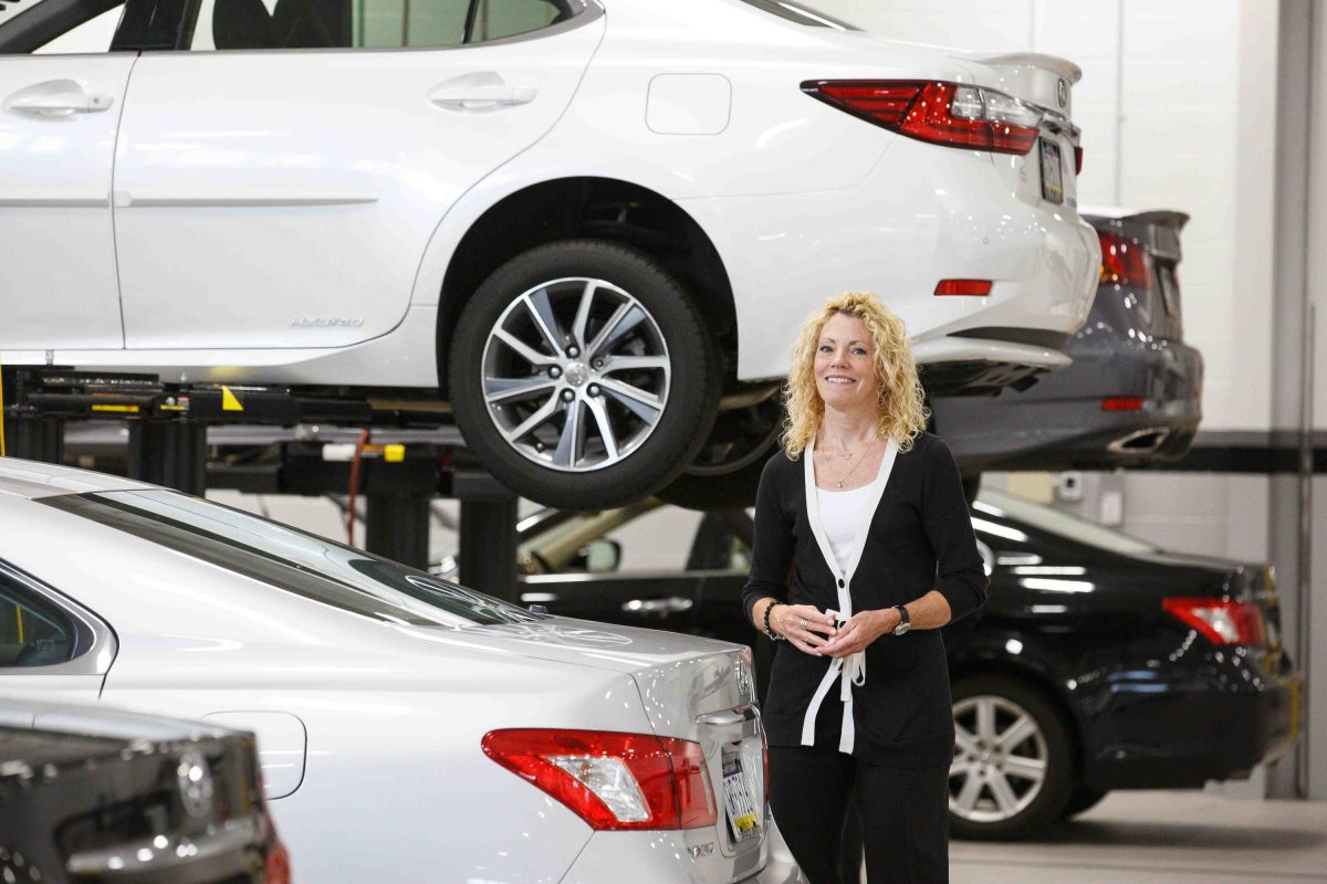 Laura Thompson Barnes, vice president of the Thompson Organization, shown here at the new high-tech Thompson Lexus dealership in Willow Grove.