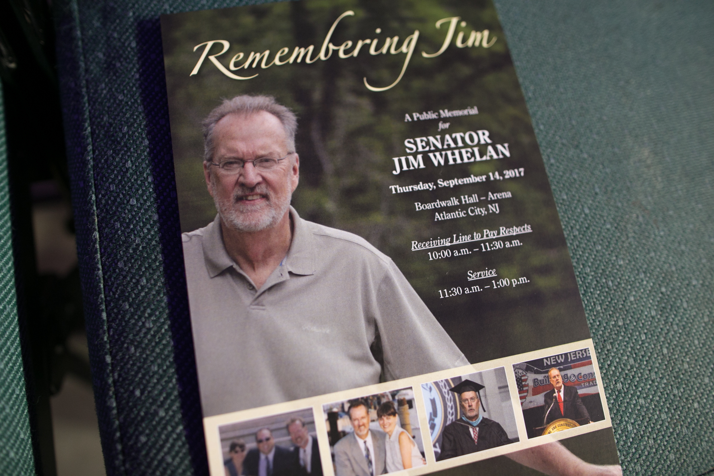 A remembrance card at the life celebration for Jim Whelan.