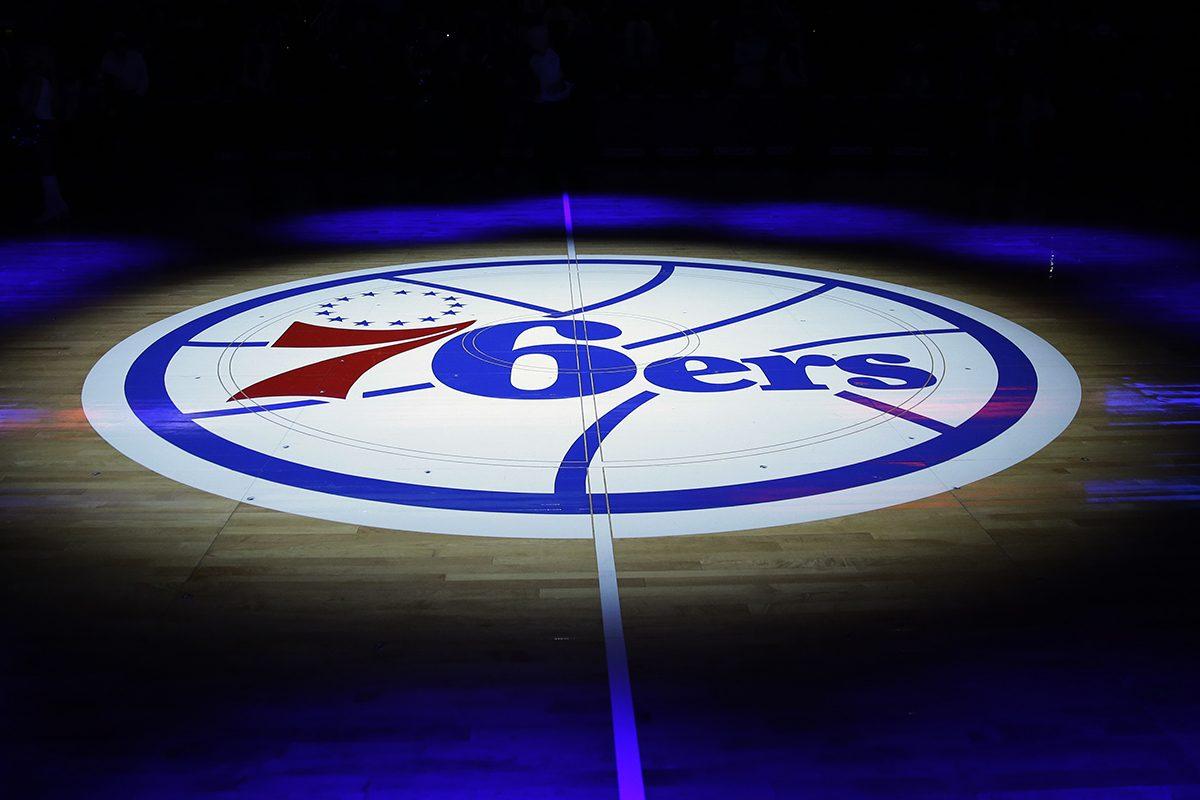 The Philadelphia 76ers' lhalf-court logo is shown before an NBA basketball game against the Cleveland Cavaliers, Friday, Nov. 8, 2013, in Philadelphia. (AP Photo/Matt Slocum)