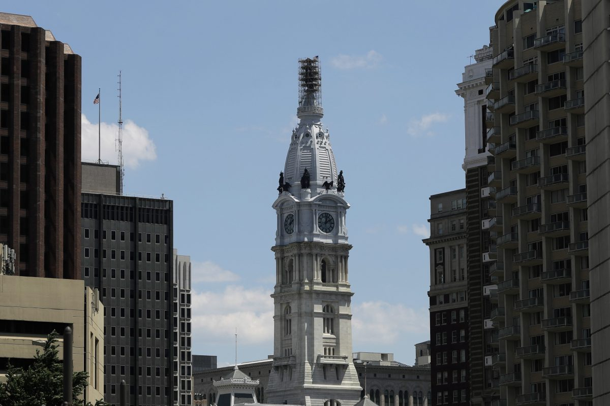 This June 1 photo shows scaffolding surrounding the sculpture of William Penn atop City Hall.