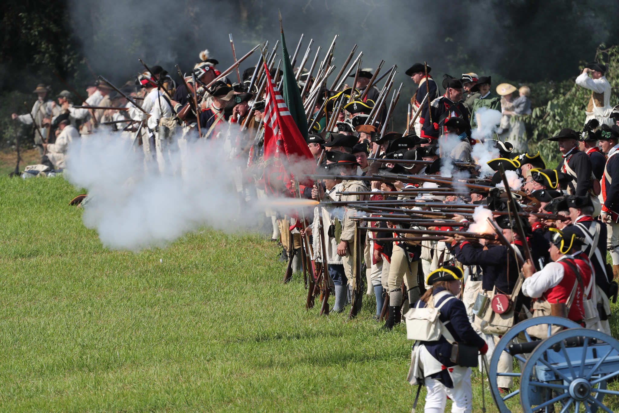 The American forces return fire at they battle British in the historic Battle of Brandywine on Sept. 11, 1777.