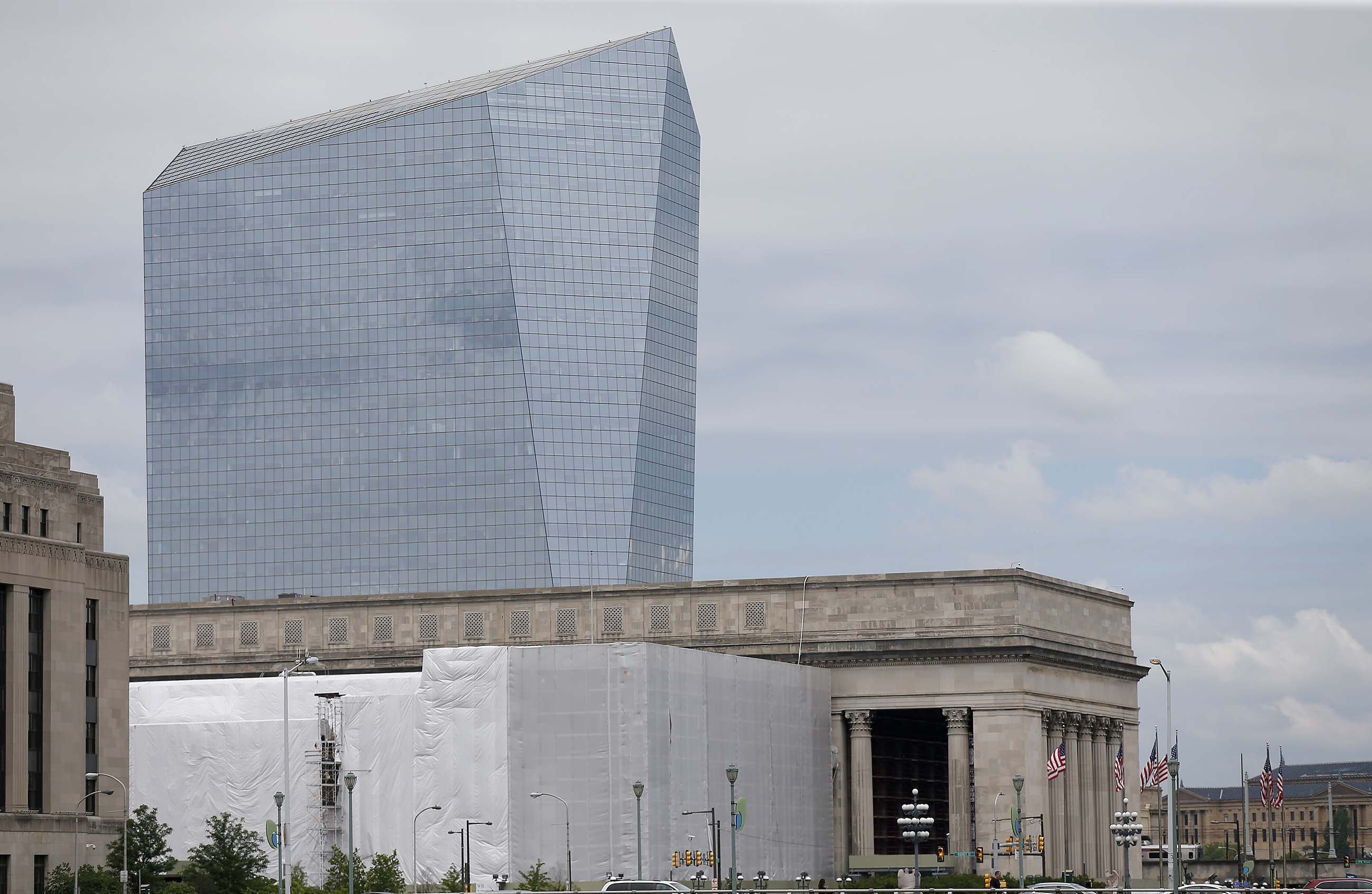 The Cira Centre with 30th Street Station in the foreground in Philadelphia, PA on May 24, 2017. DAVID MAIALETTI / Staff Photographer