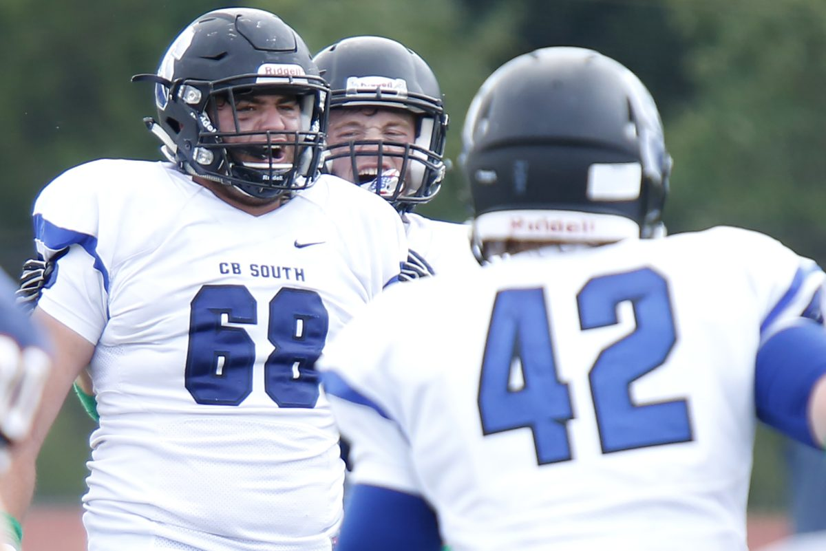 Central Bucks South senior defensive tackle Noah Collachi (68) celebrates his fourth-quarter sack in Saturday's 37-28 victory over Suburban One League Continental Conference rival Central Bucks East.