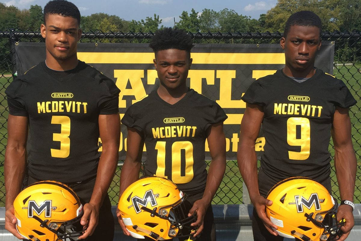 Bishop McDevitt players (from left to right) Lawrence Richardson, Jon-Luke Peaker and Lonnie Rice.