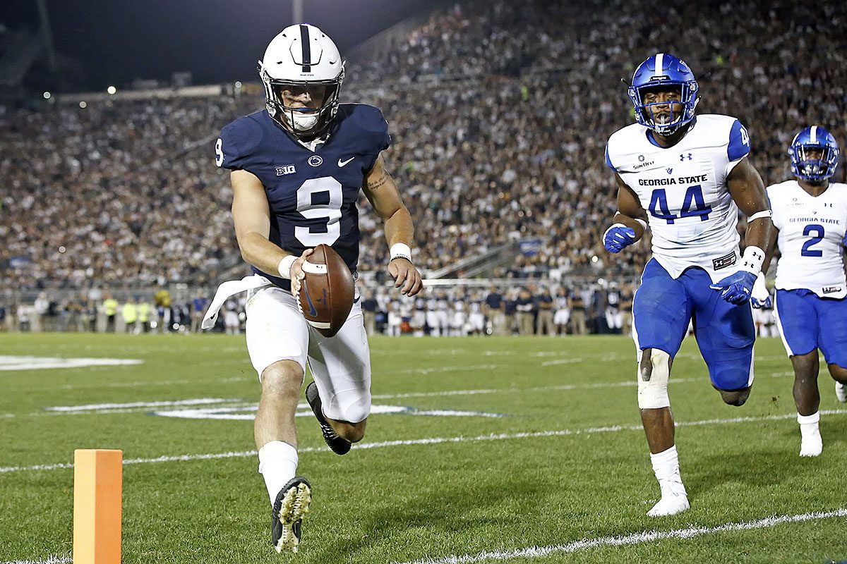 Penn State quarterback Trace McSorley (9) runs in for a touchdown against Georgia State during the first half of an NCAA college football game in State College, Pa., Saturday, Sept. 16, 2017.