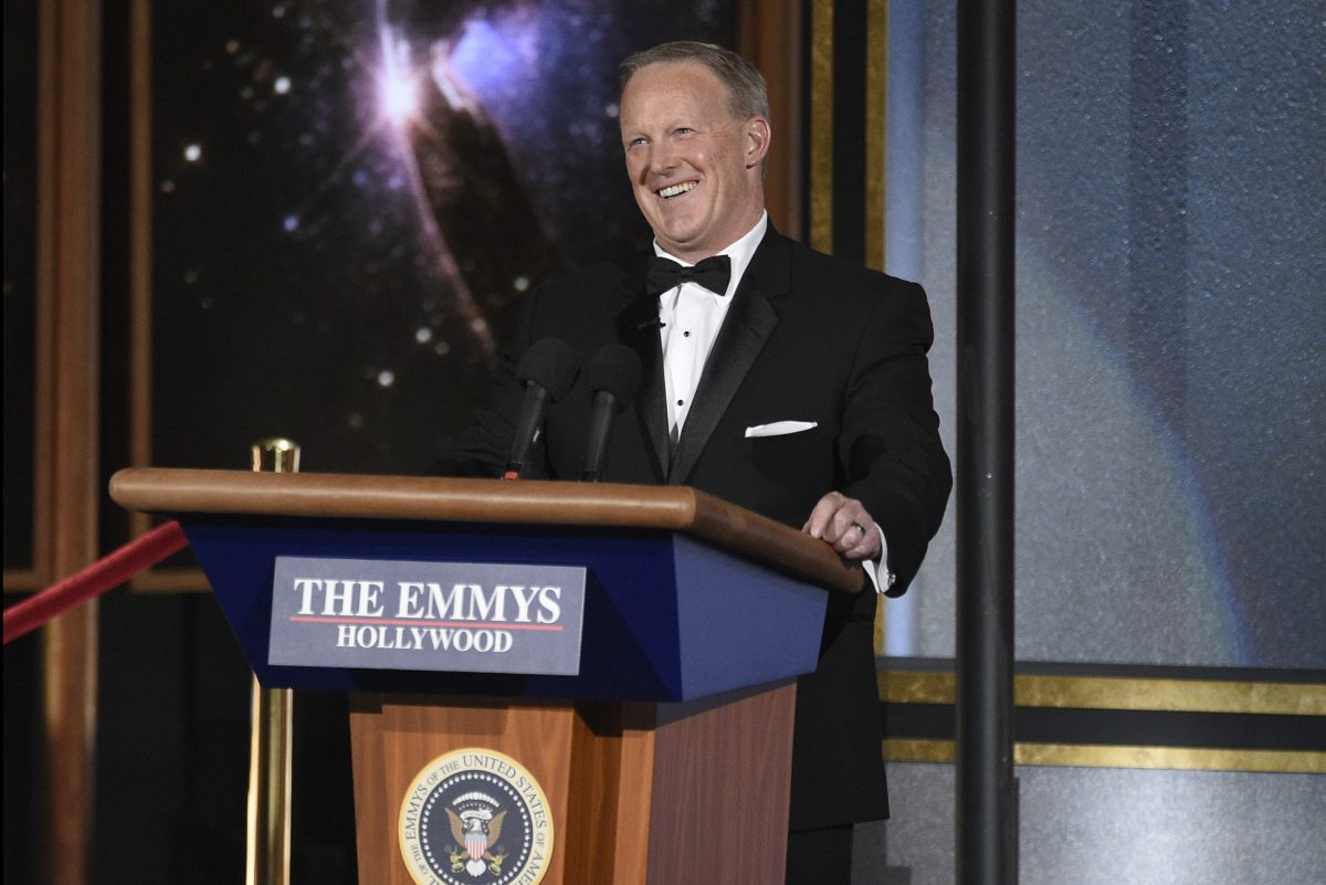 Sean Spicer speaks at the 69th Primetime Emmy Awards on Sunday, Sept. 17, 2017, at the Microsoft Theater in Los Angeles.