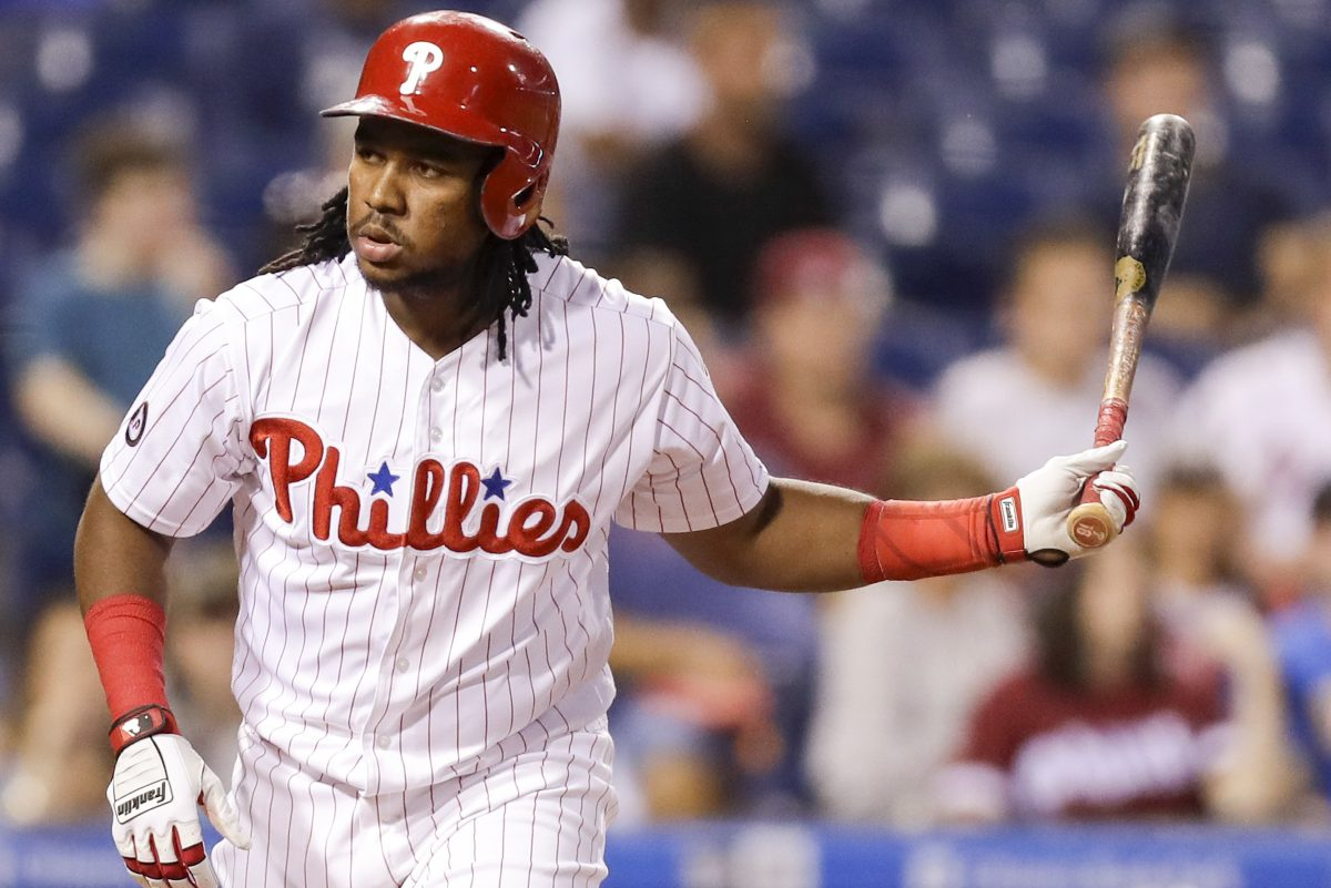 Phillies Maikel Franco prepares to toss his bat after drawing a walk against the Marlins on September 14.