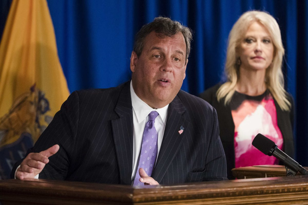 New Jersey Gov. Chris Christie, accompanied by Counselor to the President Kellyanne Conway, speaks during a news conference in Trenton, N.J., Monday, Sept. 18, 2017. Christie said pharmaceutical companies have agreed to work on nonaddictive pain medications and additional treatments to deal with opioid addiction.
