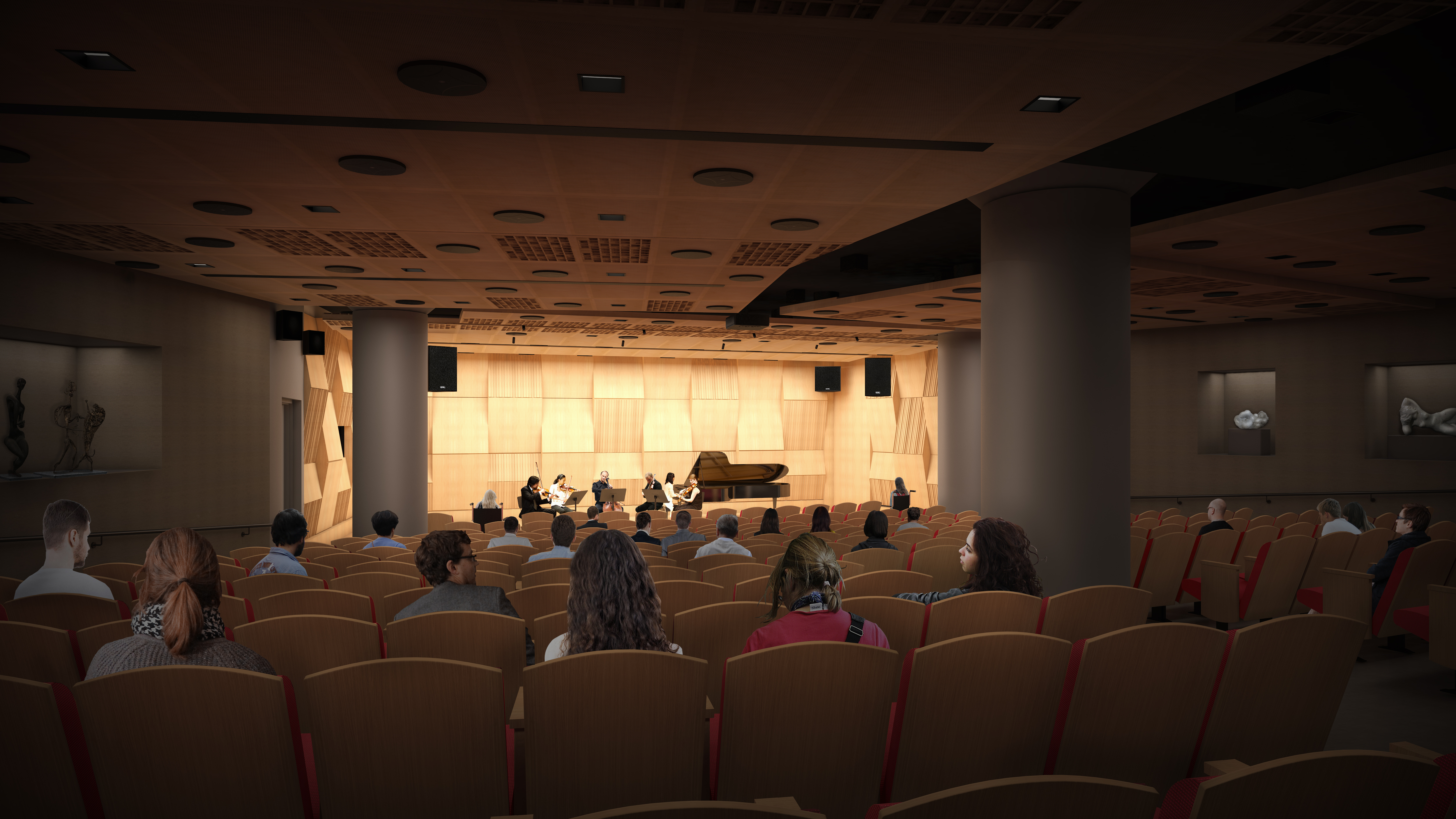Architect´s rendering of the concert hall planned for the basement of the Pennsylvania Academy of the Arts´ Hamilton building on North Broad Street.