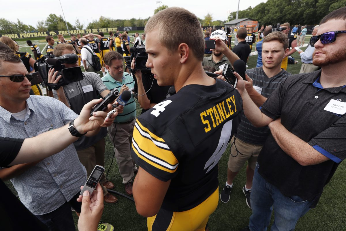 Iowa quarterback Nathan Stanley, speaking to reporters during media day last month, has helped his team to a 3-0 start.