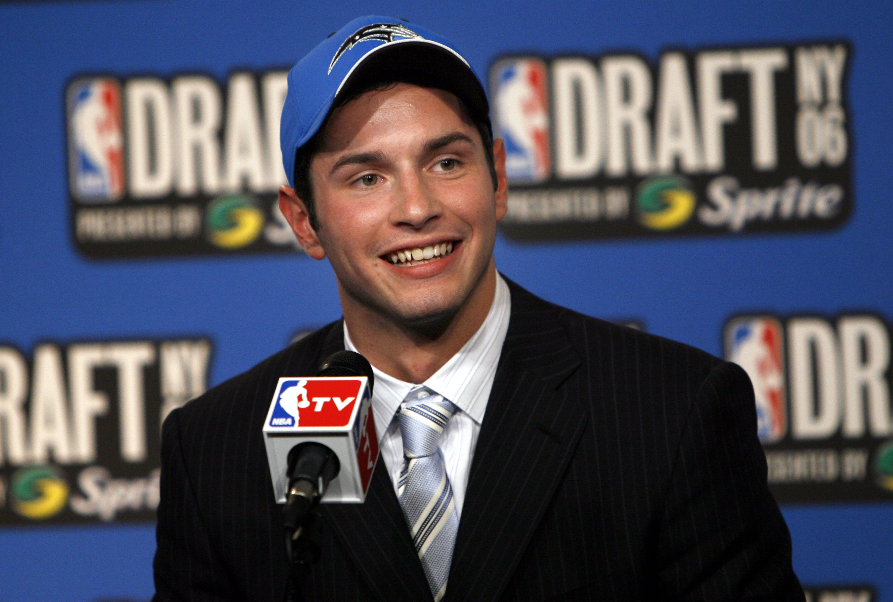 J.J. Redick, a guard from Duke, speaks to the press after he was chosen by the Orlando Magic as the 11th overall pick of the 2006 NBA Draft Wednesday, June 28, 2006 at Madison Square Garden in New York.