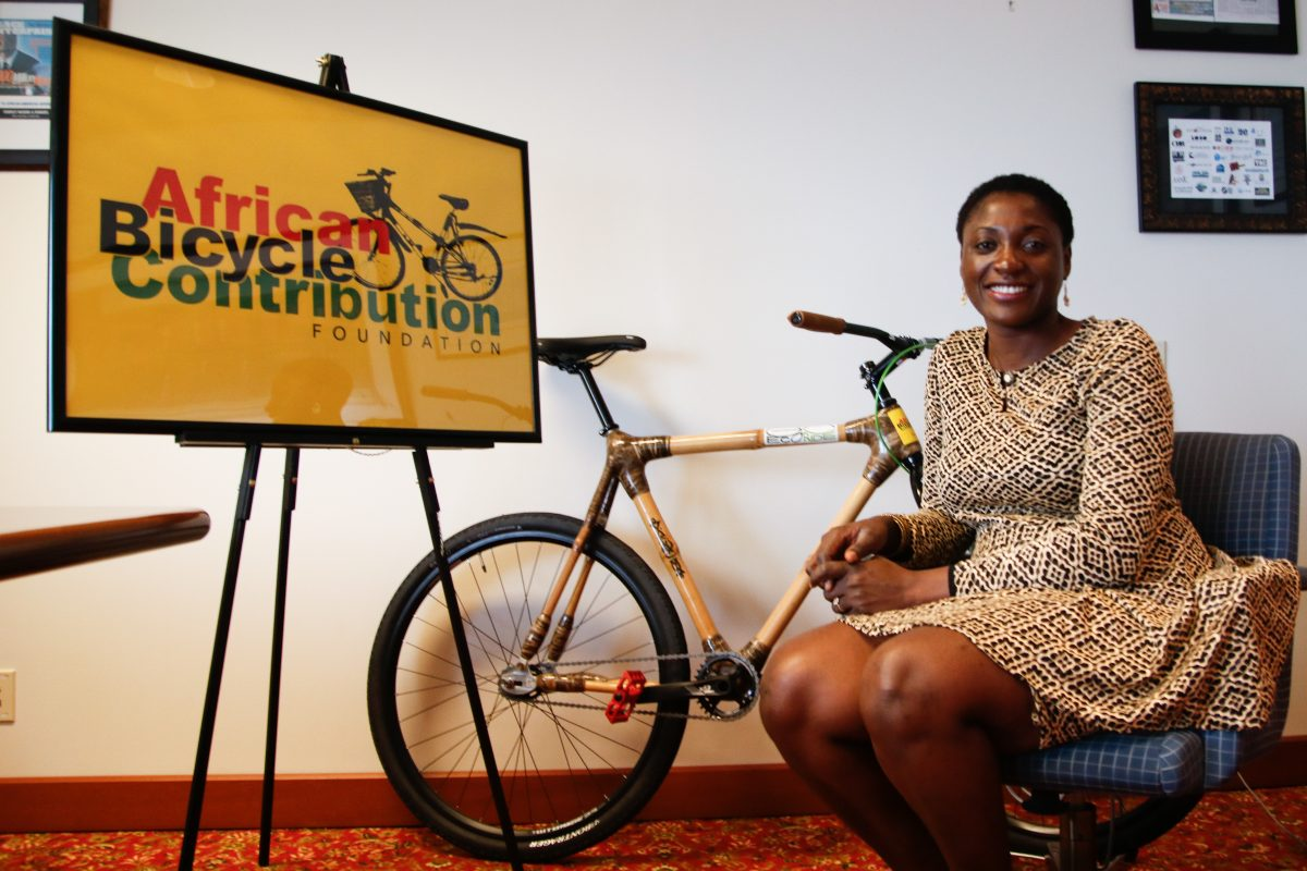 Bernice Dapaah, the founder of Bamboo Bike Initiative, an organization based in Ghana that distributes free bamboo bicycles for transport-dependent students and rural farmers in Ghana poses for a photo on Monday morning, September 18, 2017. KAIT MOORE / Staff Photographer