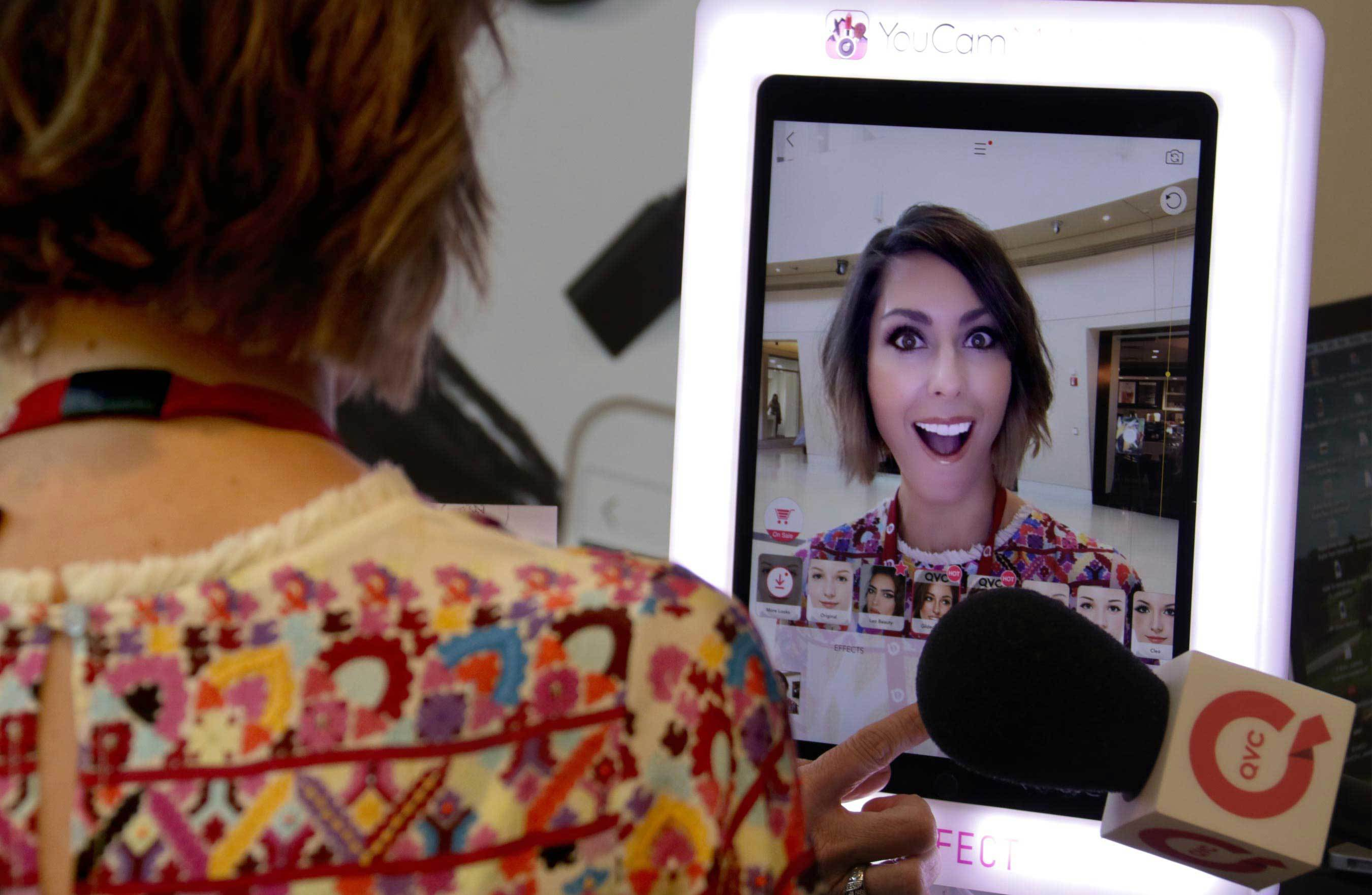 QVC´s Amy Stran looks marvelous, with whatever augmented reality-enhanced makeup she tries on.