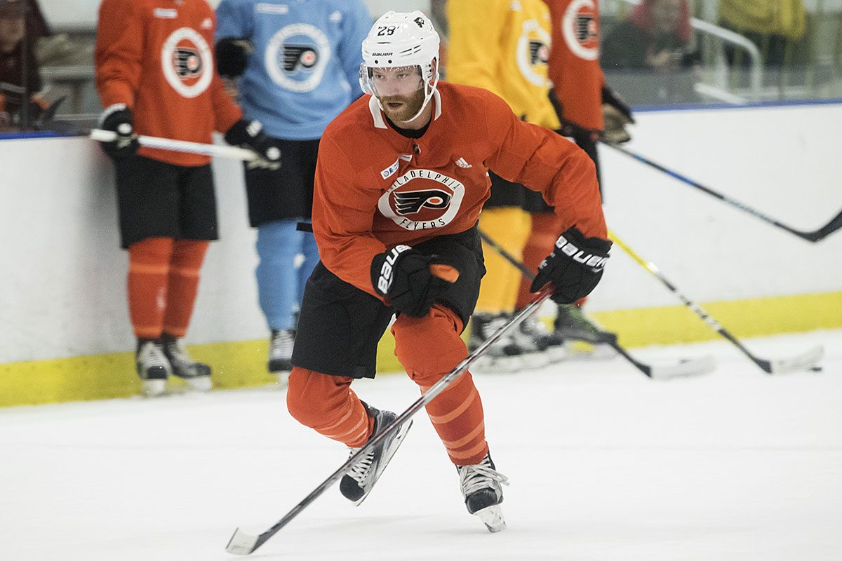 Flyers captain  Claude Giroux practices during training camp in Voorhees.