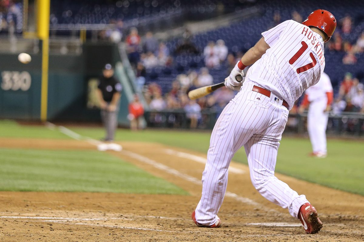 Rhys Hoskins hits a three-run double in the seventh inning.