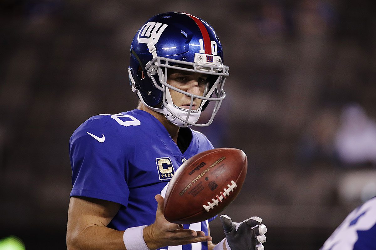 New York Giants' Eli Manning warms up before an NFL football game against the Detroit Lions Monday, Sept. 18, 2017, in East Rutherford, N.J.