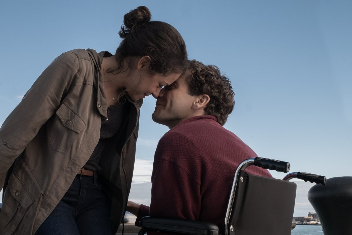 """STRONGER"": Jake Gyllenhaal stars as Jeff Bauman, a 27-year-old, working-class Boston man who was waiting near the finish line of the 2013 Boston Marathon to try to win back his ex-girlfriend — Tatiana Maslany as Erin Hurley. When a bomb explodes, he loses both his legs. (Photo: Scott Garfield / Roadside Attractions)"