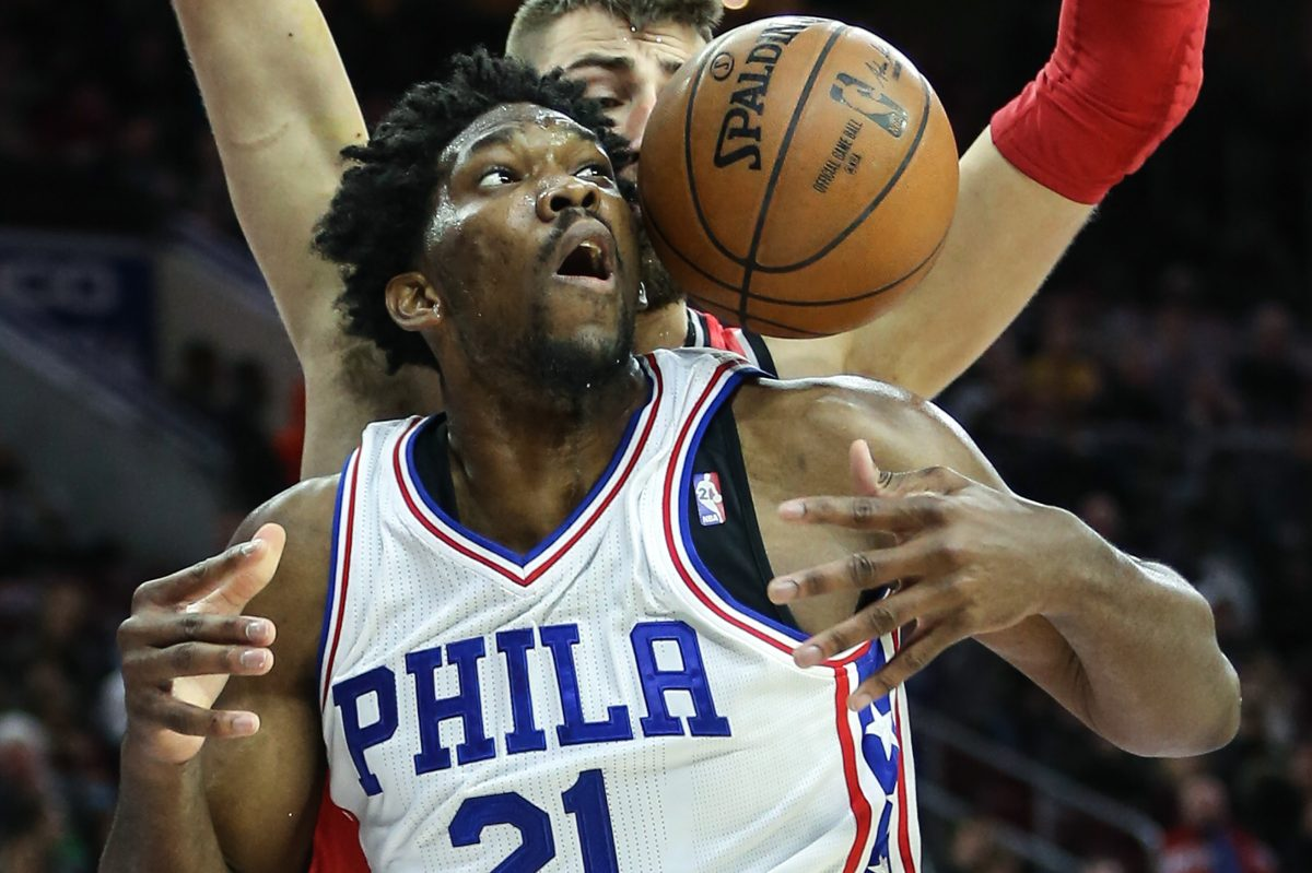 Sixers center Joel Embiid  in December. He had surgery to repair the meniscus in his left knee on March 24.