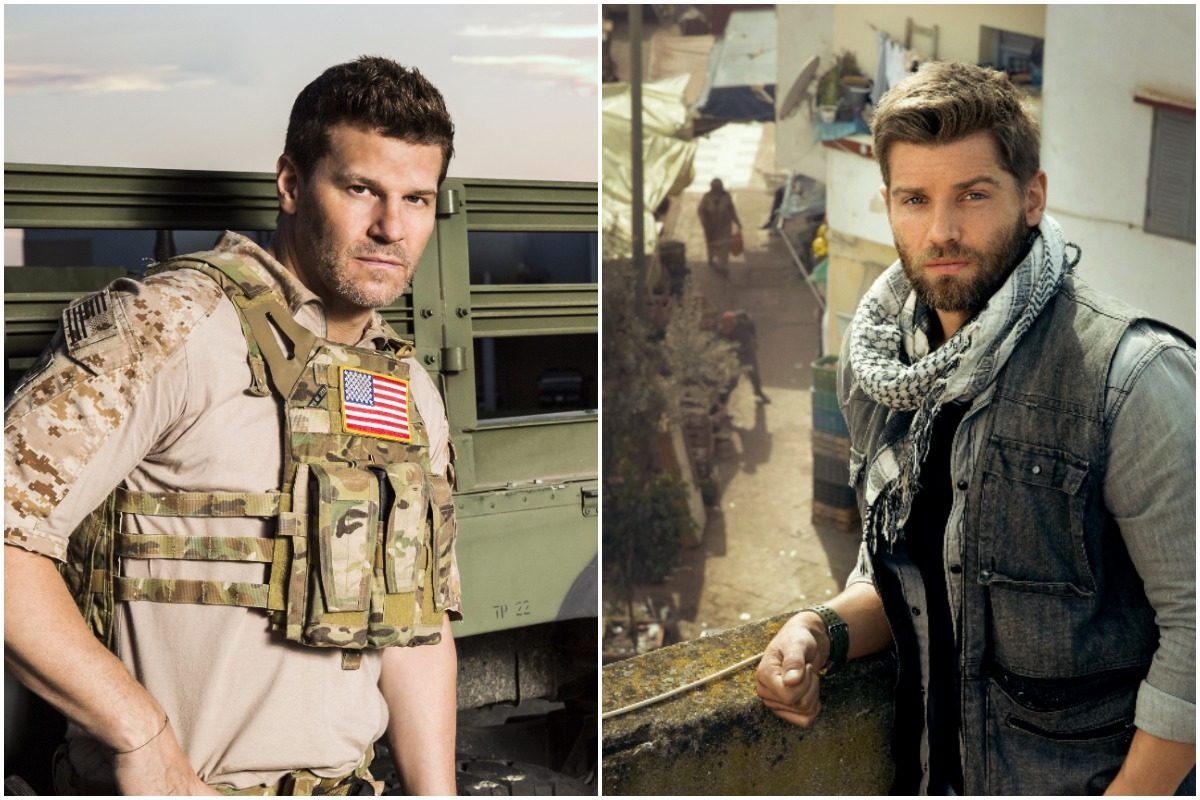 "David Boreanaz, left, stars in CBS's ""SEAL Team""; Mike Vogel stars in  NBC's ""The Brave."""