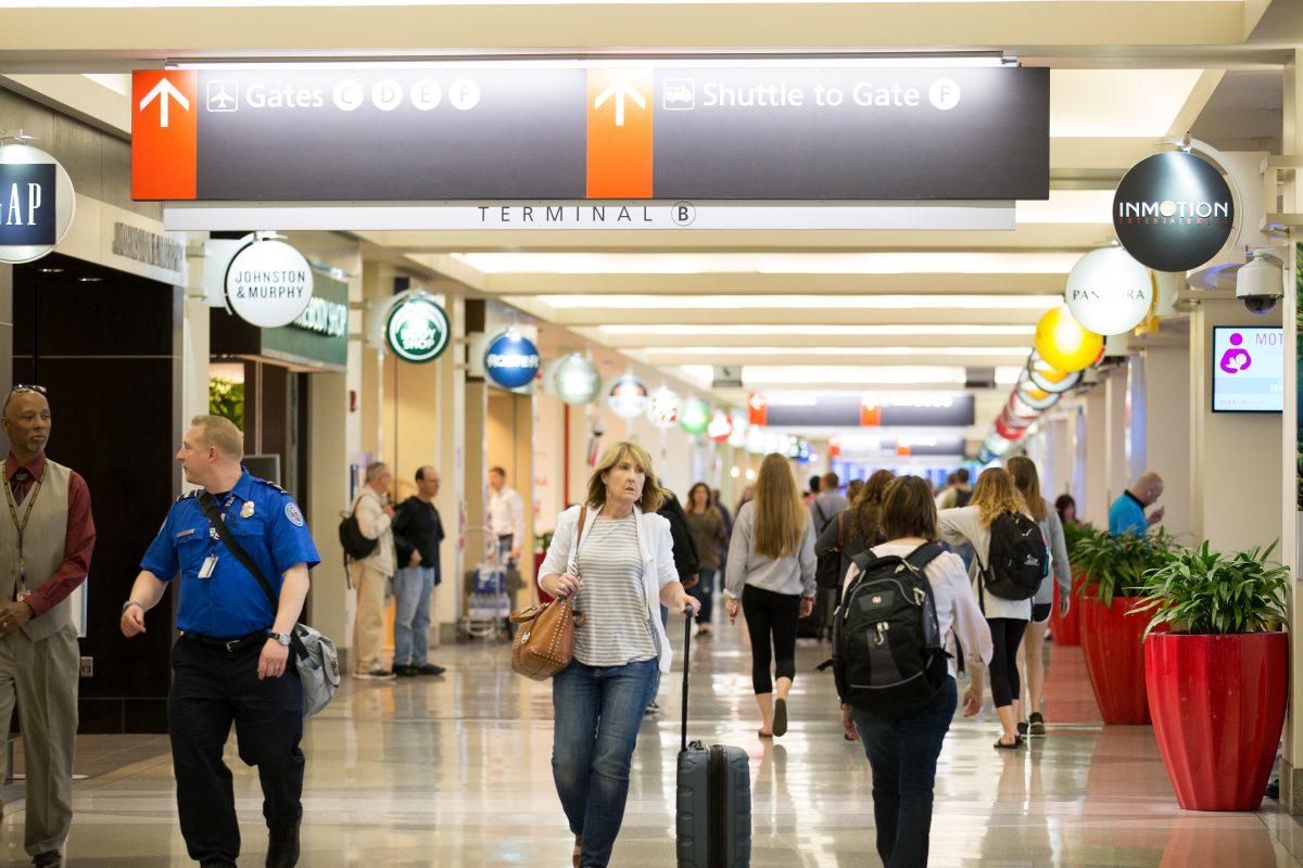 Travelers in Terminal B at the Philadelphia International Airport.