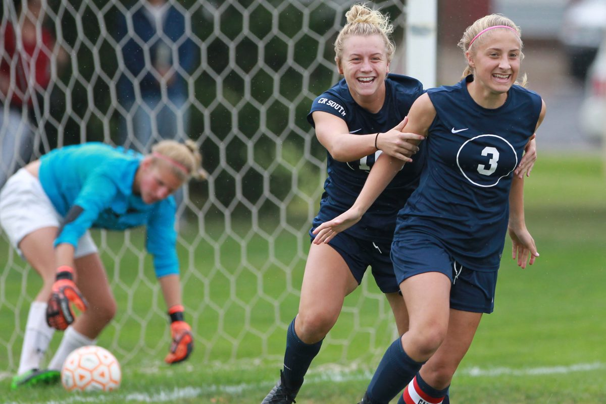 Paige Mikula, left, here celebrating with teammate Julie Rebh last season, scored twice in Council Rock South's win over North Penn.