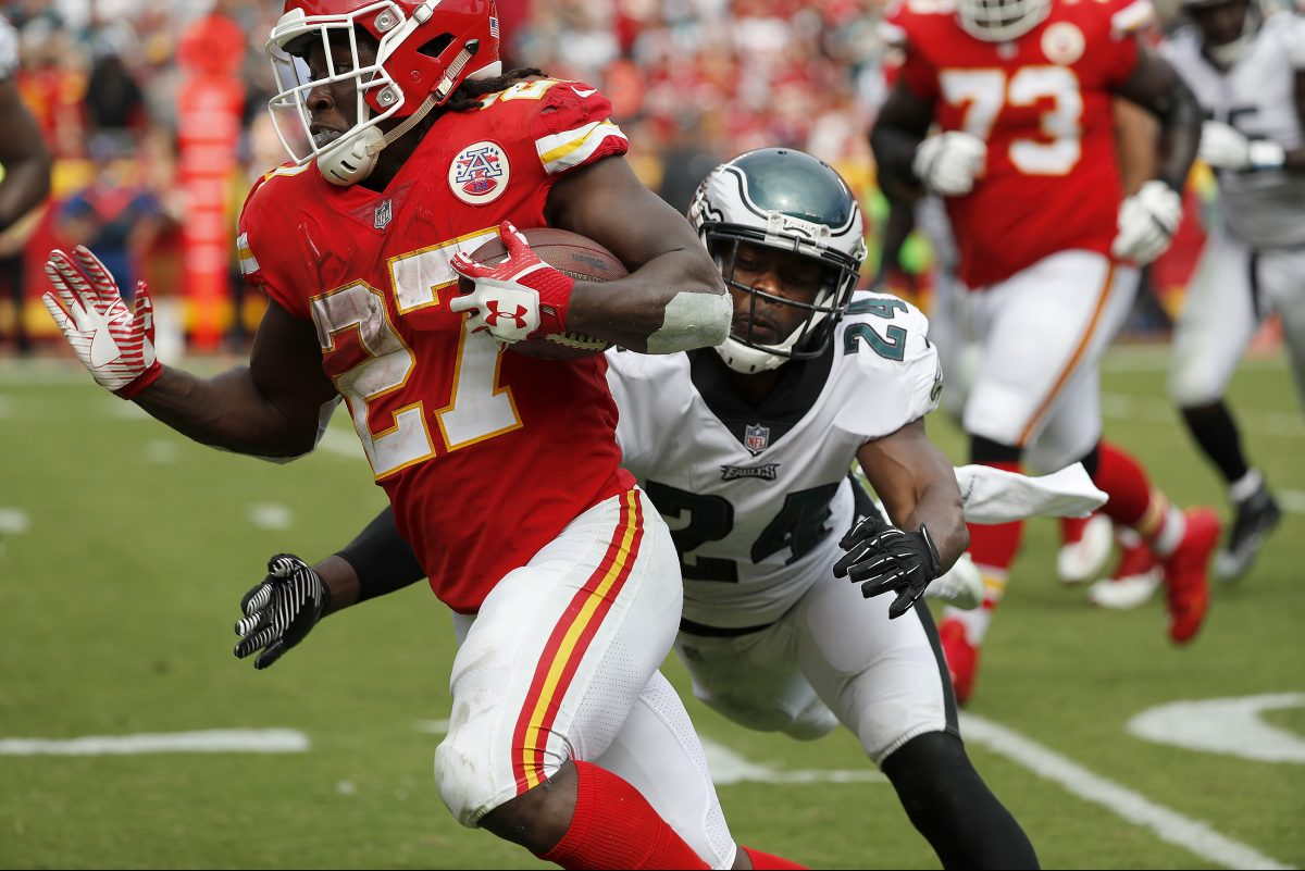 Eagles defensive back Corey Graham, here trying to tackle Chiefs running back Kareem Hunt, is questionable against the Giants on Sunday.